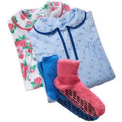2 Hospital Gowns & 2 Non Slip Slipper Socks