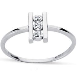 Diamond Three Stone Ring in 10K White Gold