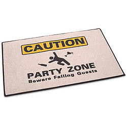 Caution: Party Zone Welcome Mat