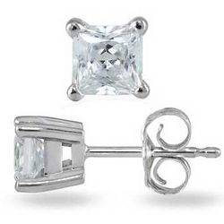 3/4ct Princess Diamond Solitaire Earrings in 14k White Gold