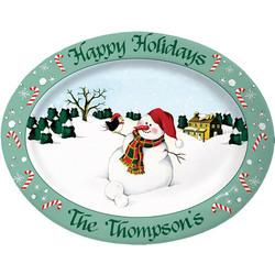 Personalized Stoneware Snowman Platter