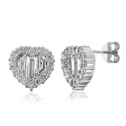 Sterling Silver CZ Heart Shape Stud Post Earrings