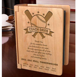 Personalized Baseball All-Star Coach Wooden Photo Album