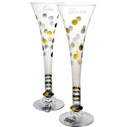 Wedding or Anniversary Polka Dot Champagne Flutes