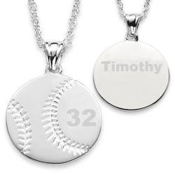 Silvertone Engraved Baseball Pendant