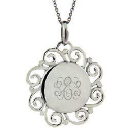 Engraved Vintage Scroll Design Sterling Silver Pendant
