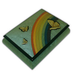 18 Note Butterfly and Rainbow Musical Jewelry Box