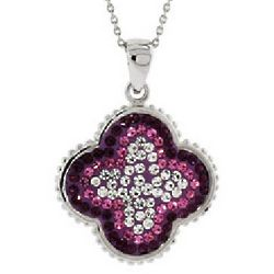 Purple and Pink Swarovski Crystal Flower Pendant