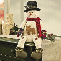 Plush Sitting Snowman with Moose