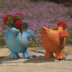Folk Art Handcrafted Bird Pots