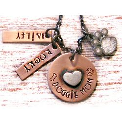 Personalized Hand-Stamped Doggie Mom Necklace