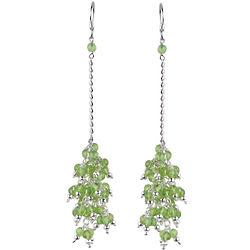 Peridot Beaded Chandelier Earrings in Sterling Silver