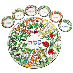 Seven Species Glass Seder Plate