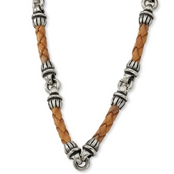 Mens Sterling Silver and Braided Tan Leather Necklace