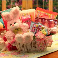 Bunny Fun Easter Gift Basket in Pink