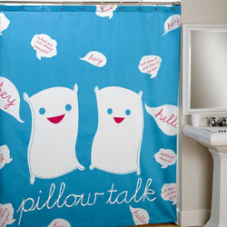 Pillow Talk Shower Curtain in Blue And Red