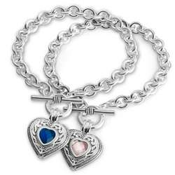 Heart Charm Birthstone Toggle Bracelet