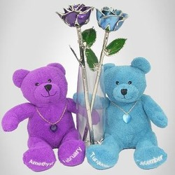 His and Her Birthday Roses with Birthstone Bears and Vase