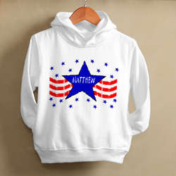 Kid's Stars and Stripes Personalized Hooded Sweatshirt