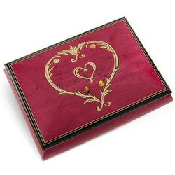 22 Note Heart Inlay Design Musical Jewelry Box