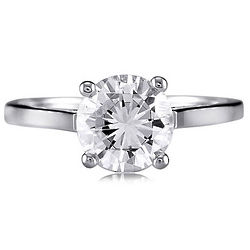 Sterling Silver Round Cubic Zirconia Solitaire Ring