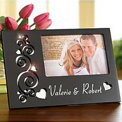 Personalized Mirrored Swirling Hearts Cutout Frame
