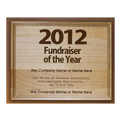 Fundraiser of the Year Wooden Wall Plaque