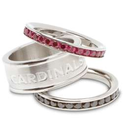 Arizona Cardinals Stainless Steel and Crystal Stacked Sports Ring