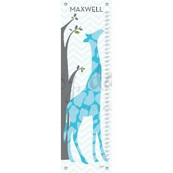 Modern Giraffe Children's Blue Growth Chart