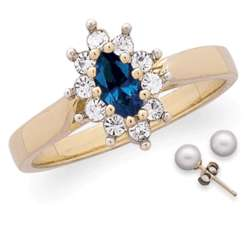 Marquise Sapphire and Crystal Ring with Pearl Earrings