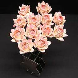 Bouquet of 12 Paper Peach Roses in an Original Vase