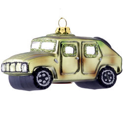 Personalized Green Jeep Christmas Ornament