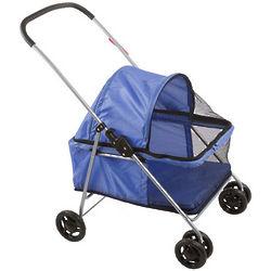 Large Blue Folding Pet Stroller