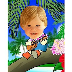 Your Photo in a Treetop Guitarist Caricature