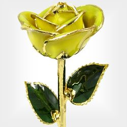 "11"" 24k Gold Trimmed Preserved Yellow Rose"