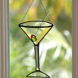 Stained Glass Martini with Olive Suncatcher