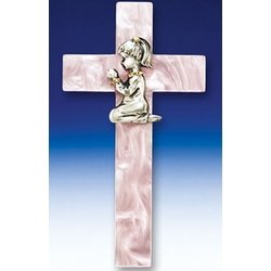 Pink Pearl Praying Girl Cross