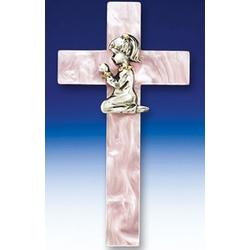 Pink Pearl Praying Girl Cross