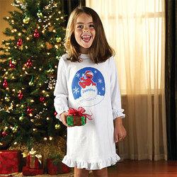 "Personalized ""Santa Elmo"" Girl's Nightshirt"