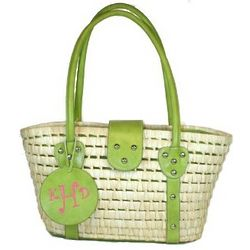 Monogrammed Lime Green Straw Hand Bag