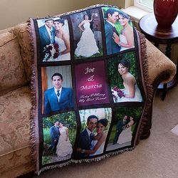 Personalized Photo Nine Panel Throw Blanket