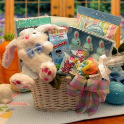 Bunny Fun Easter Gift Basket in Blue