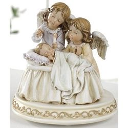 Musical Baby with Angels Figurine