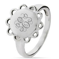 Sterling Silver Engravable Signet Ring in Vintage Design
