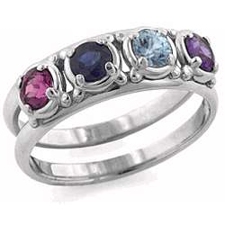 14K White Gold Original Mother's Birthstone Ring