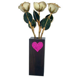 8 Inch Gold Trimmed Rose Trio with Walnut Vase