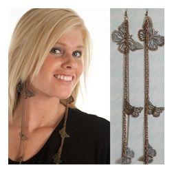 Trendy Beautified Butterflies Metal Dangle Earrings