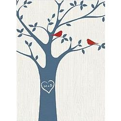 Personalized Tree Initials Ivory Canvas Art