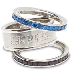San Diego Chargers Stainless Steel and Crystal Stacked Ring