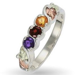 3 Stone Mother's Birthstone Ring in Sterling with Gold Accents